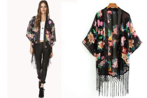 Women Black Floral Tassel Casual Chiffon Blouse Kimono Coat Cape Jacket